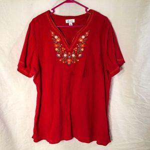 Denim Co XL Blouse Red Floral V Neck 1343